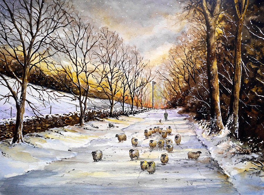 Snow Scene Painting - Bringing home the sheep by Andrew Read