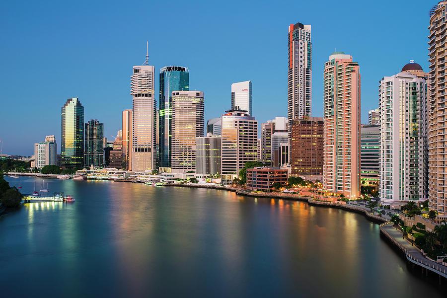 Brisbane Skyline From Story Bridge At by Stefan Mokrzecki