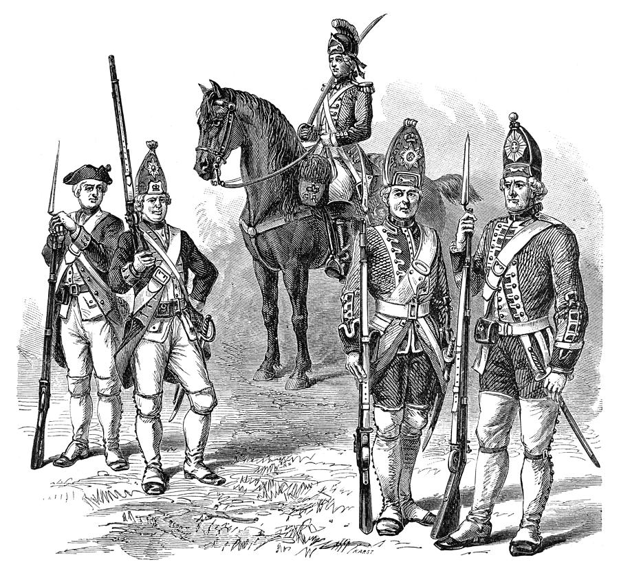 1770s Photograph - British & Hessian Soldiers by Granger