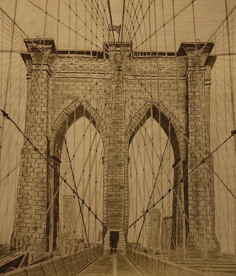 Brooklyn bridge drawings fine art america brooklyn bridge drawing brooklyn bridge by roozbeh mirebrahimi malvernweather Choice Image