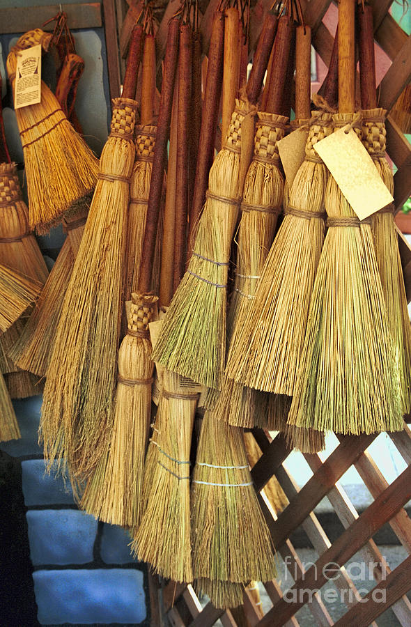 Wicker Photograph - Brooms For Sale by David Smith