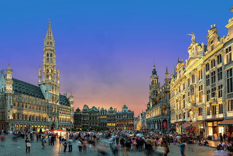 Brussels, Grand Place At Dusk Photograph by Sylvain Sonnet