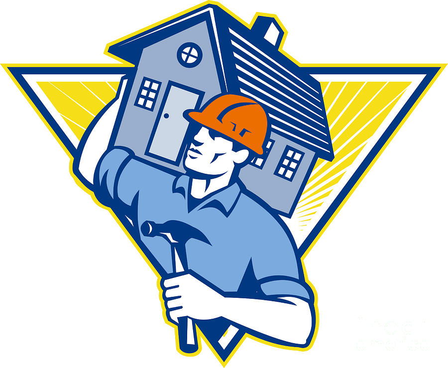 Builder Digital Art - Builder Construction Worker Hammer House by Aloysius Patrimonio