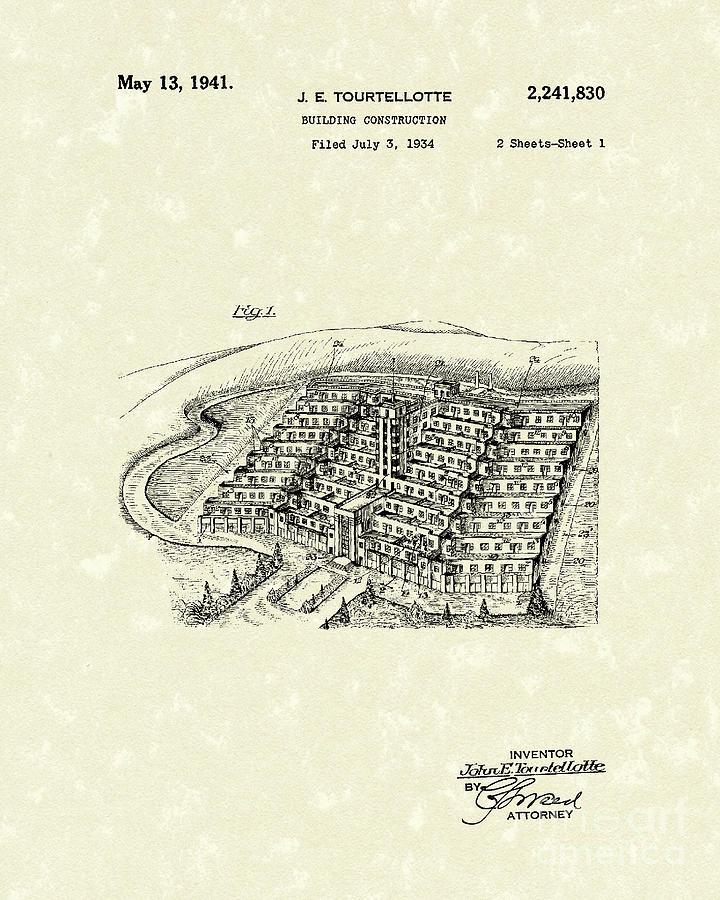 Tourtellotte Drawing - Building Construction 1941 Patent Art by Prior Art Design