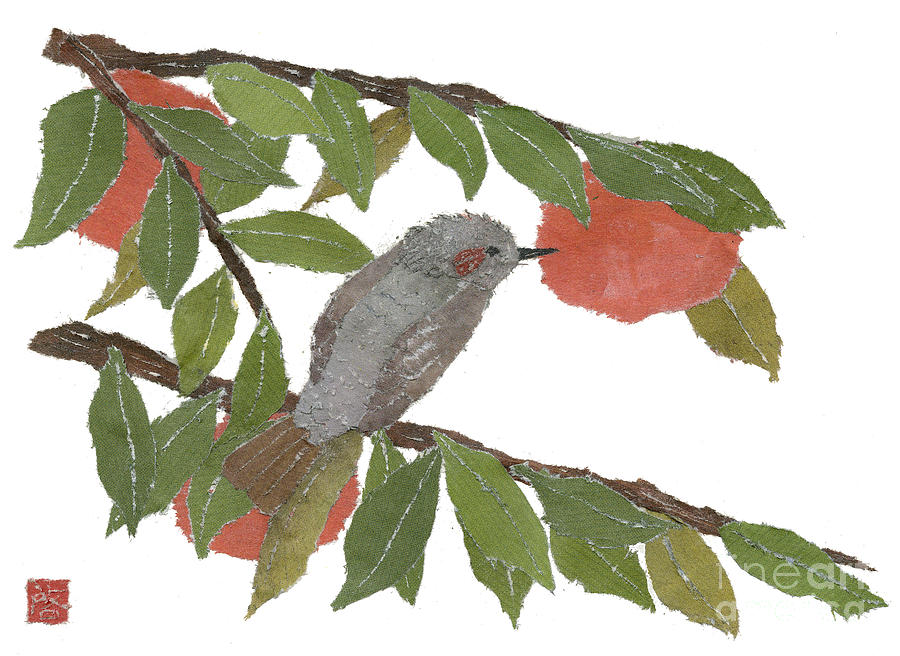 Bird Painting - Bulbul And Persimmon  by Keiko Suzuki
