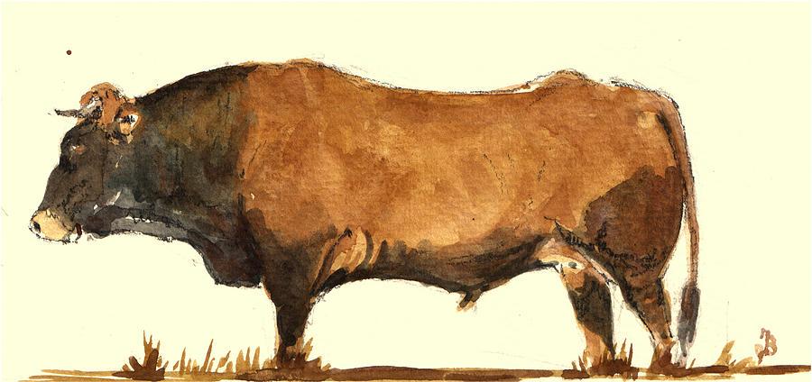 Bull Painting - Bull by Juan  Bosco