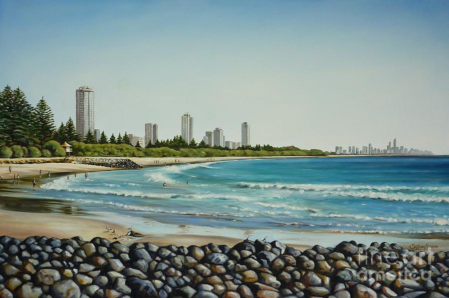 Beach Painting - Burleigh Beach 210808 by Selena Boron