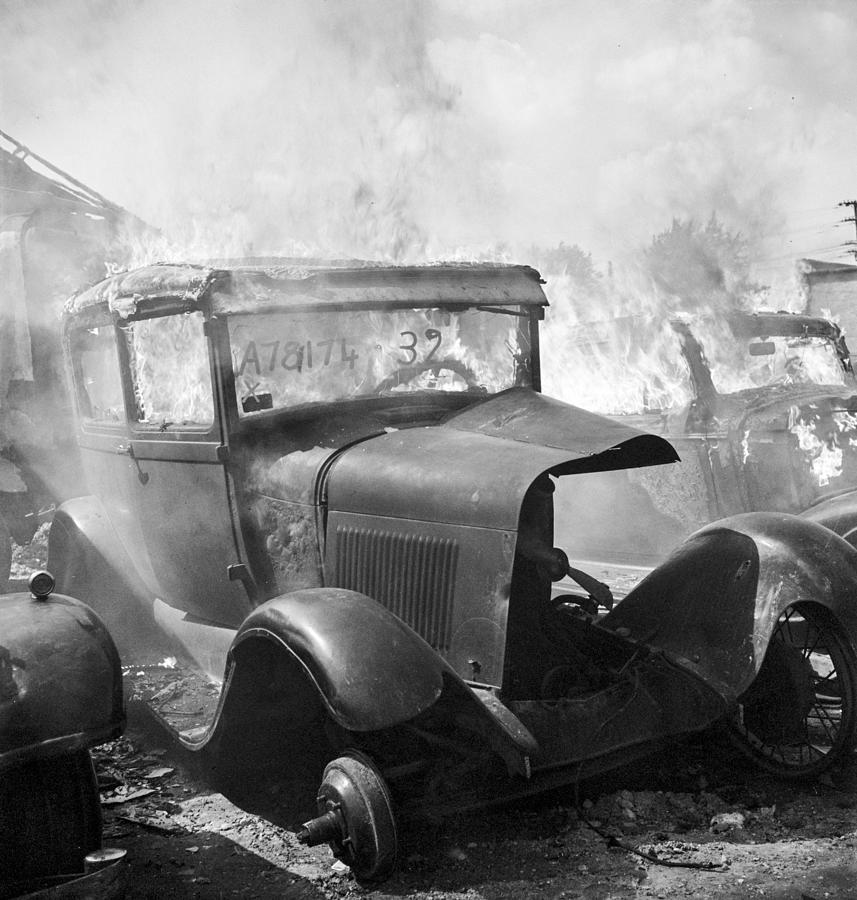 Scrap Metal Photograph - Burning Car Circa 1942  by Aged Pixel