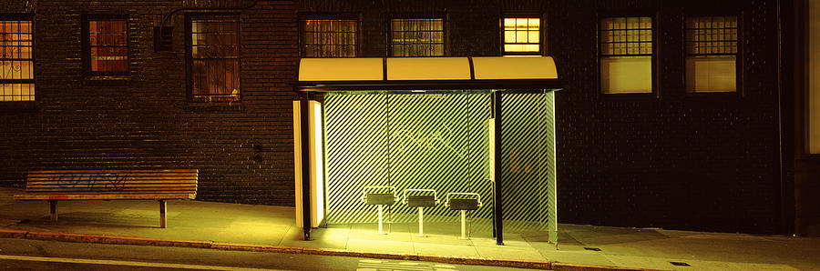 Color Image Photograph - Bus Stop At Night, San Francisco by Panoramic Images