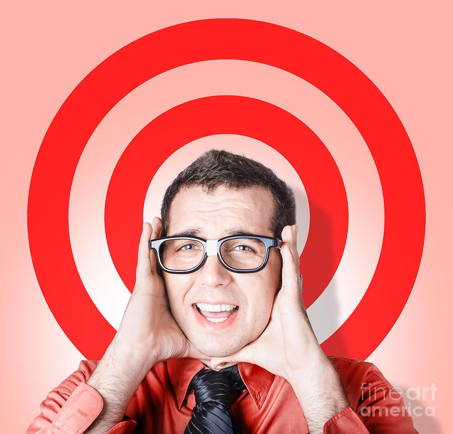 Target Photograph - Business Man In Fear On Target Background by Jorgo Photography - Wall Art Gallery