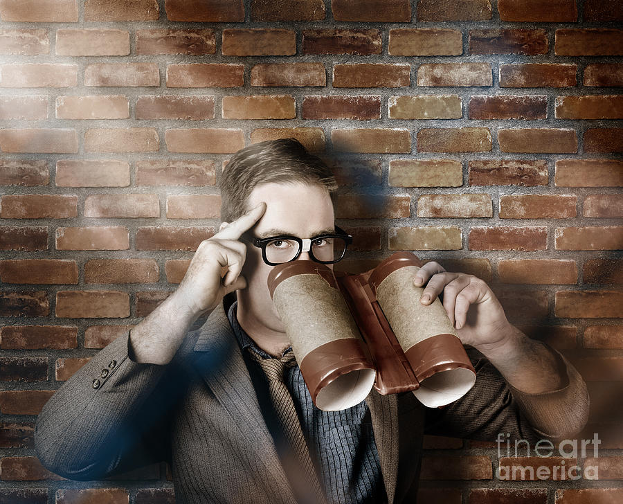 Spy Photograph - Business Spy Looking Through Innovative Binoculars by Jorgo Photography - Wall Art Gallery