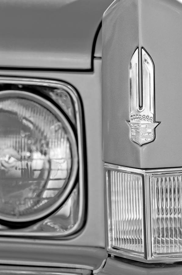 Black And White Photograph - Cadillac Headlight Emblem by Jill Reger