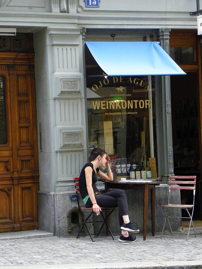 Switzerland Photograph - Cafe Blues by Carolyn Bistline