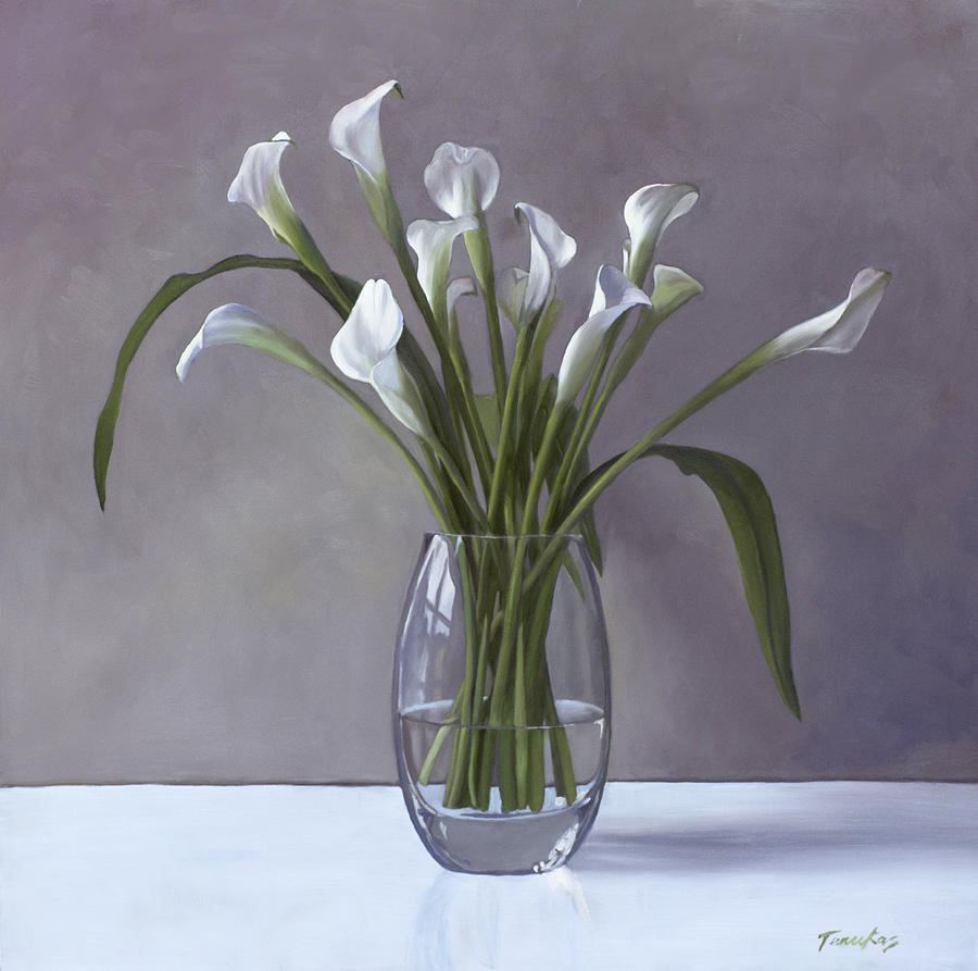 Calla lilies in a vase painting by linda tenukas calla painting calla lilies in a vase by linda tenukas reviewsmspy