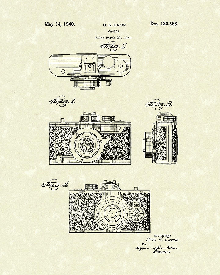 Camera 1940 Patent Art by Prior Art Design