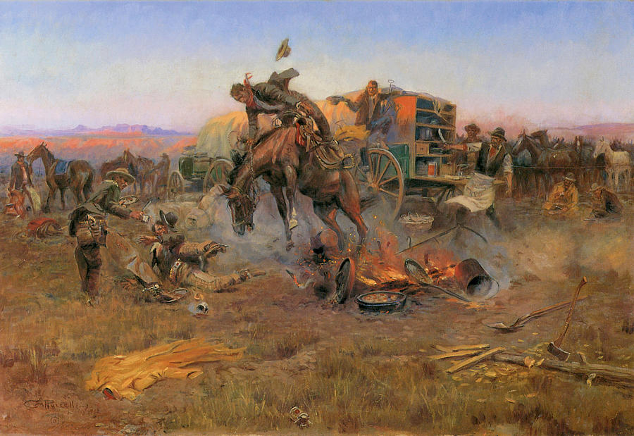 Charles M Russell Painting - Camp Cooks Troubles by Charles M Russell