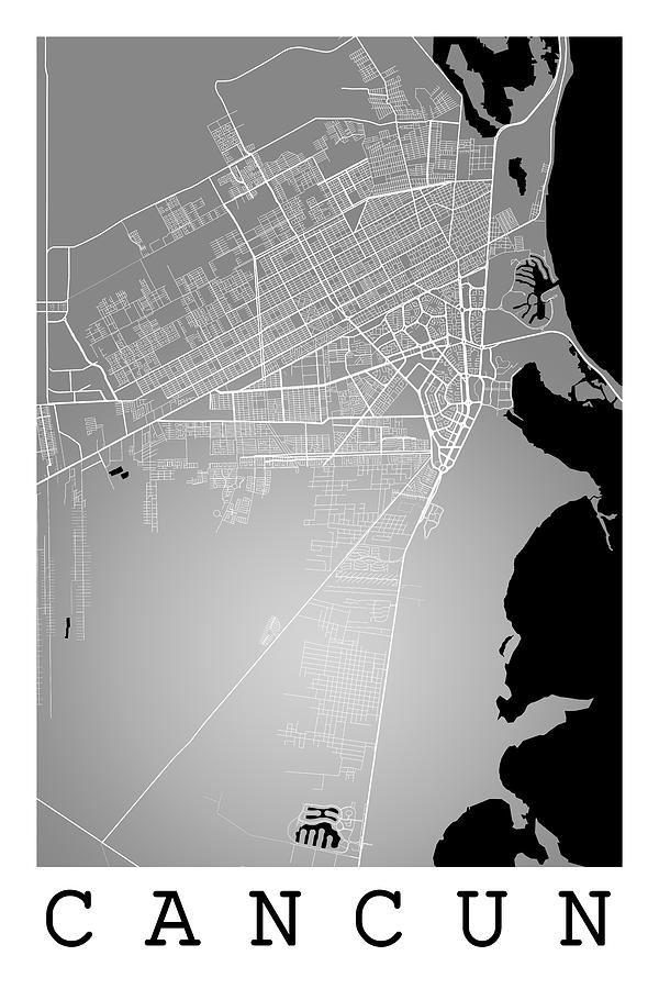 Cancun Street Map - Cancun Mexico Road Map Art On Color Digital Art ...