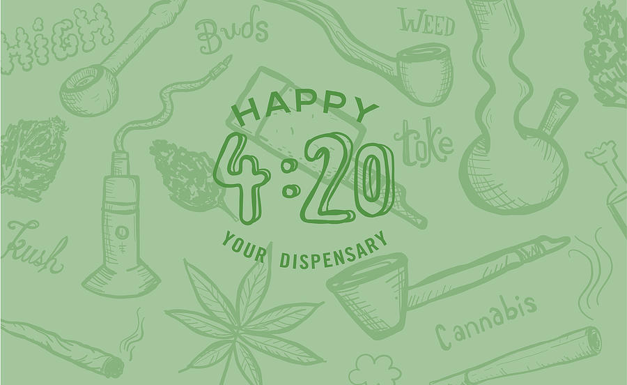 Cannabis Weed Culture Happy 420 Hand Drawn Banner Designs Drawing by JDawnInk