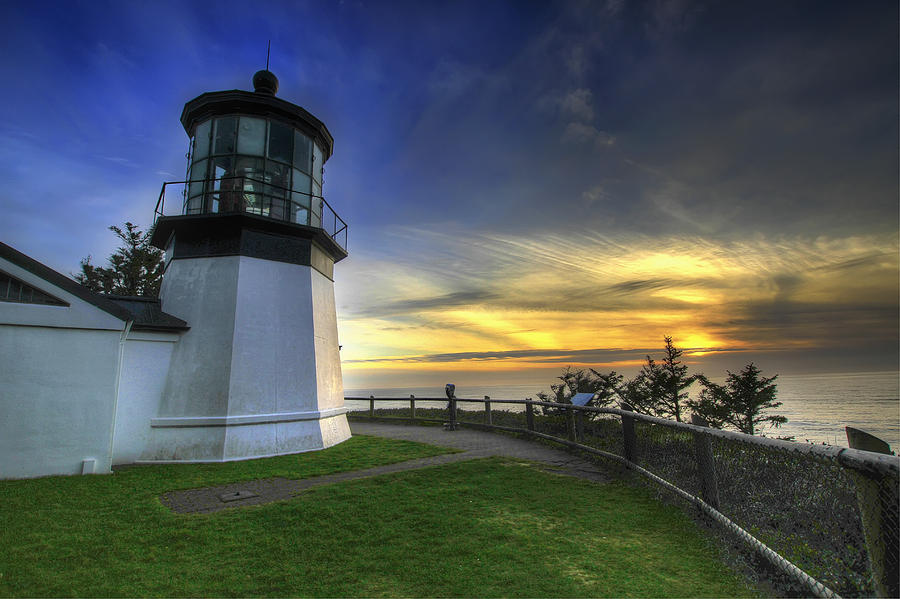 Cape Photograph - Cape Meares Lighthouse At Sunset by David Gn