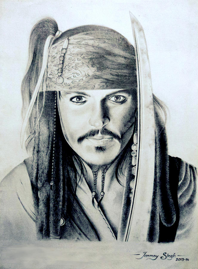Pirate Drawing - Johny Depp - The Captain Jack Sparrow by Tanmay Singh