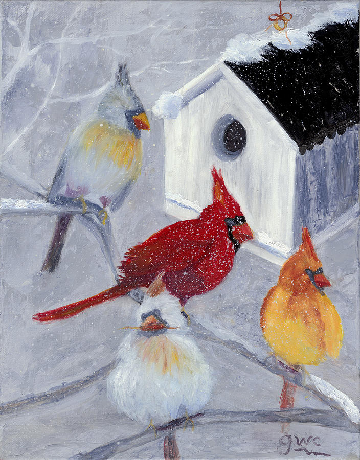 Cardinals Painting - Cardinals In The  Snow by Gloria Condon