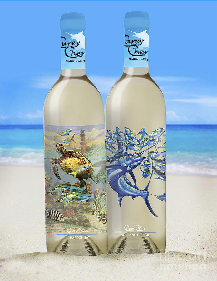 Wine Glass Art - Carey Chen Fine Art Wines by Carey Chen