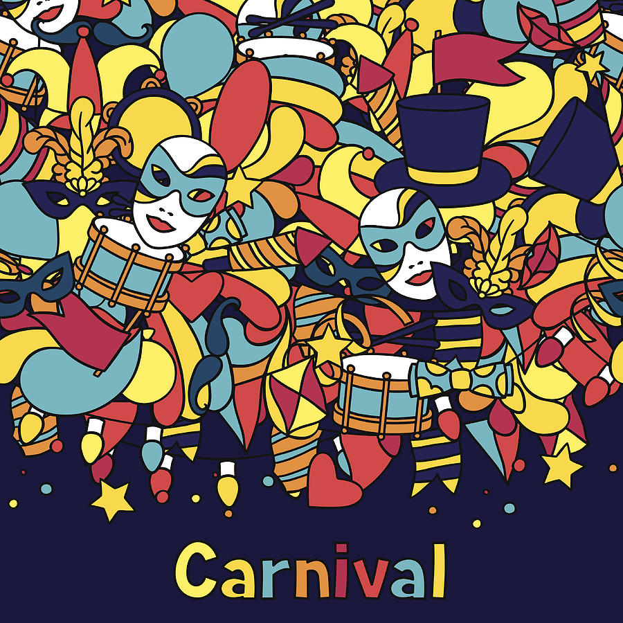 Carnival Show Seamless Pattern With Doodle Icons And Objects by Incomible