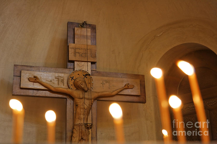 Jesus Photograph - Carving Of Jesus Christ On The Cross Inside Tsminda Sameba Cathedral Tbilisi by Robert Preston