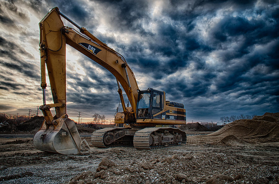 Bulldozer Photograph - Cat Excavator by Mike Burgquist