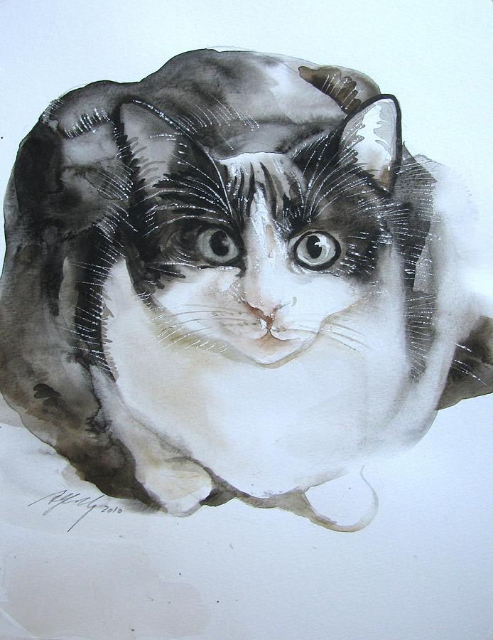 Cat Painting - Cat In Black And White  by Alfred Ng