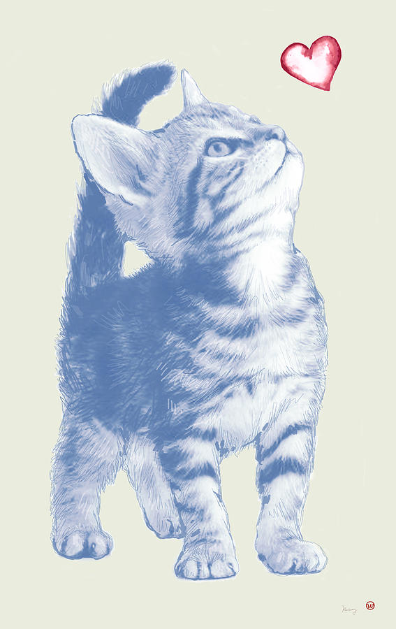 Portraits Drawing - Cat With Love Hart Pop Modern Art Etching Poster by Kim Wang