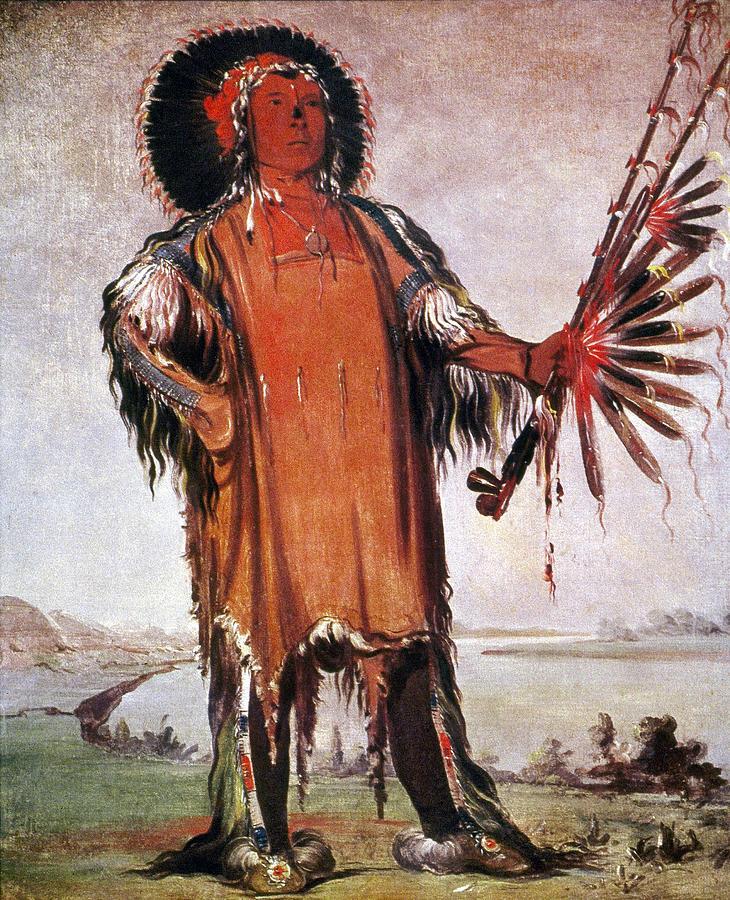 Catlin Mandan Chief, 1832 Painting by Granger