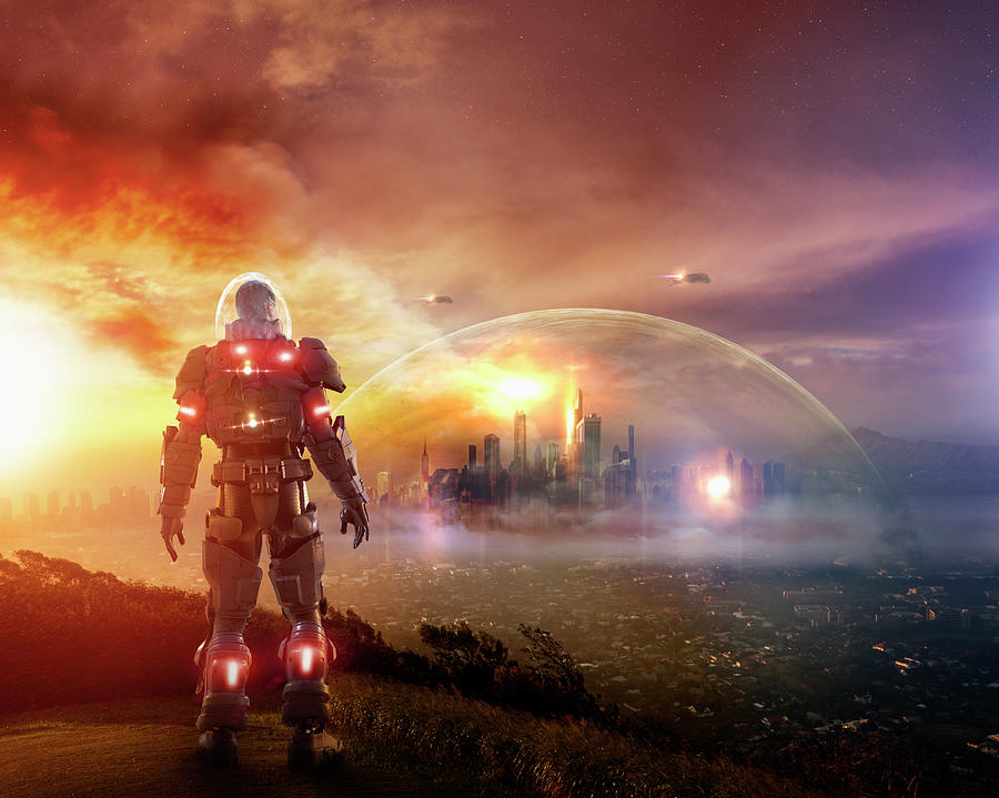 Caucasian Soldier Wearing Glowing Armor Photograph by Colin Anderson Productions Pty Ltd