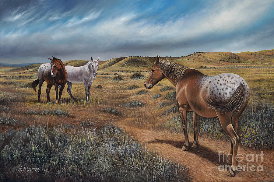 Horses Painting - Cayuse Country by Ricardo Chavez-Mendez