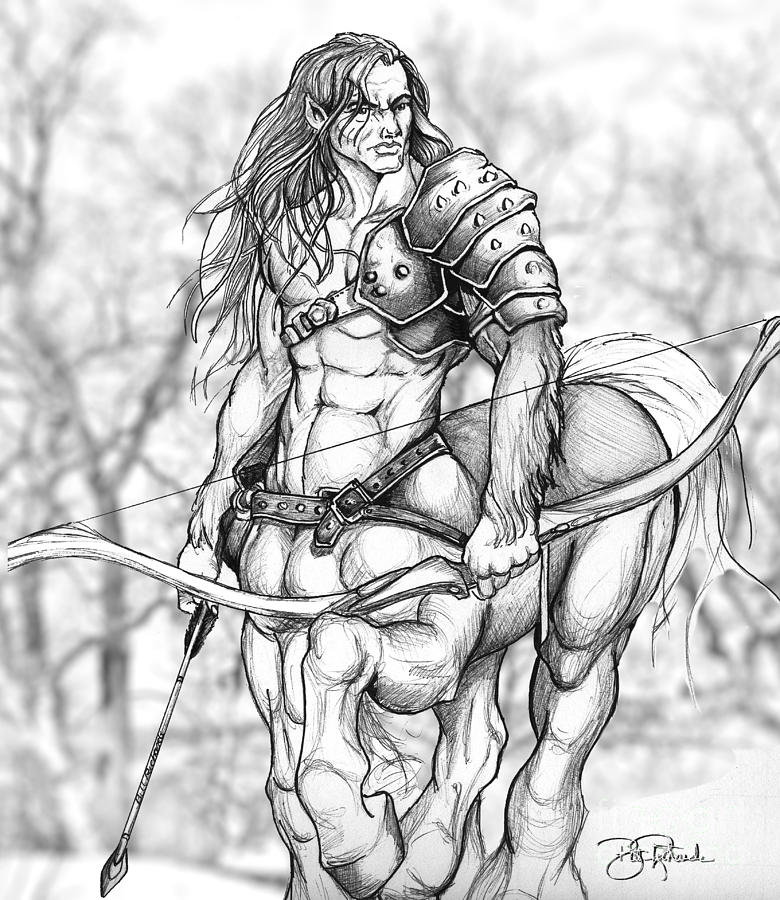 Pen Drawing - Centaur by Bill Richards