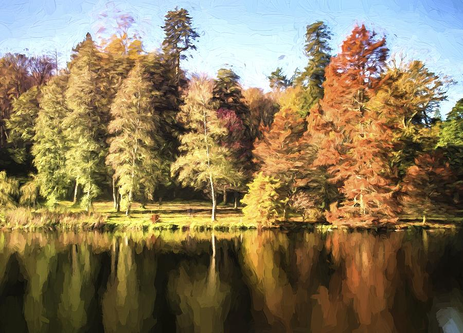 Landscape Photograph - Cezanne Style Digital Painting Beautiful Landscape Of Autumn Trees And Colors Reflected In Lake by Matthew Gibson