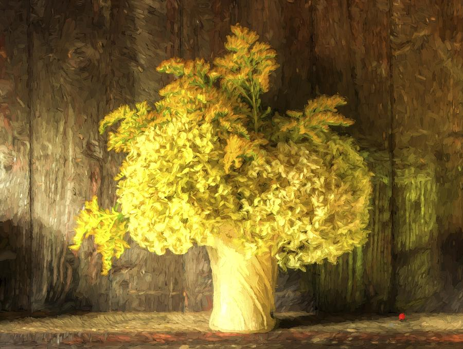 Flowers Photograph - Cezanne Style Digital Painting Retro Style Still Life Of Dried Flowers In Vase Against Worn Woo by Matthew Gibson