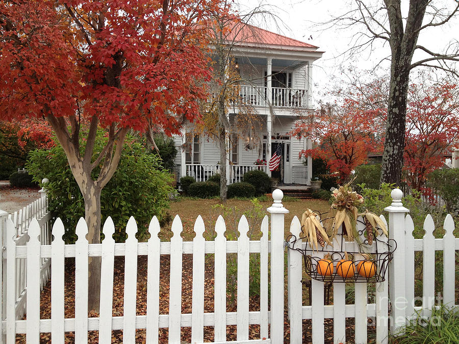 white picket fence. Charleston Historical Victorian Mansion - Autumn Fall Trees And White  Picket Fence Photograph By Kathy Fornal White Picket Fence