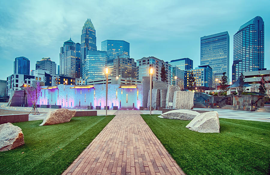 Charlotte Photograph - Charlotte City Skyline In The Evening by Alex Grichenko