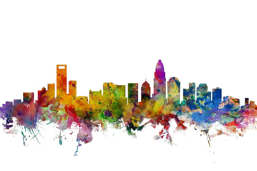 Charlotte North Carolina Skyline Digital Art By Michael