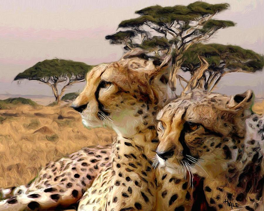 Southwest Painting - Cheetah Brothers by Roger D Hale
