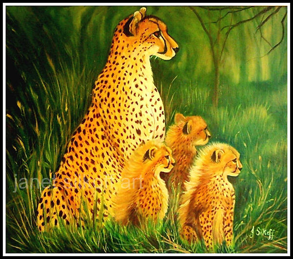 Wildlife Painting - Cheetah Family by Janet Silkoff