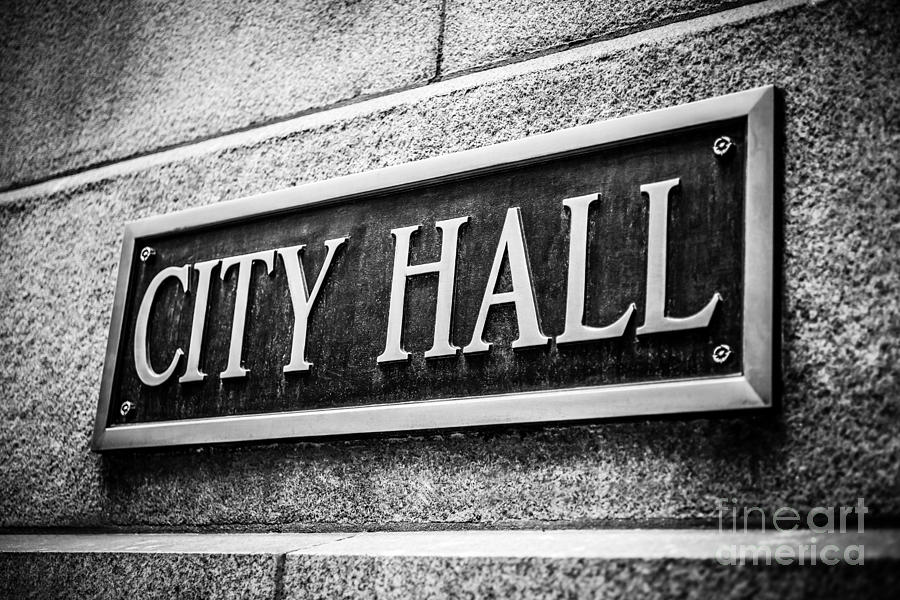 America Photograph - Chicago City Hall Sign In Black And White by Paul Velgos