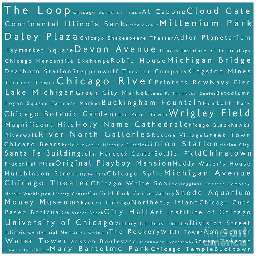 Chicago In Words Teal Photograph