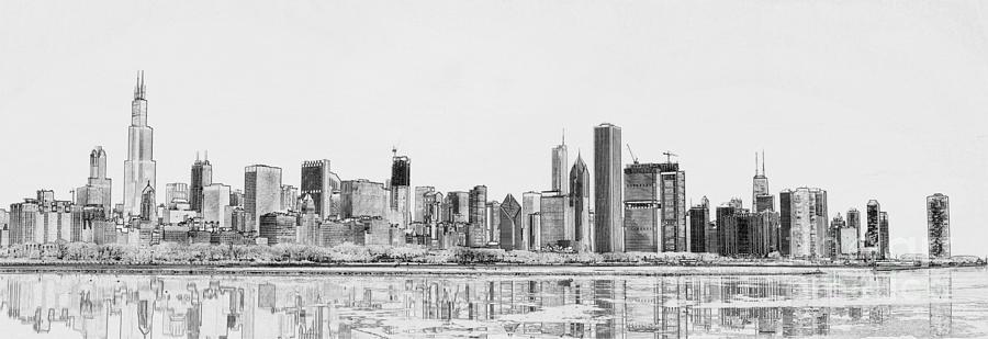 Chicago Landscape Digital Art - Chicago Panorama by Dejan Jovanovic