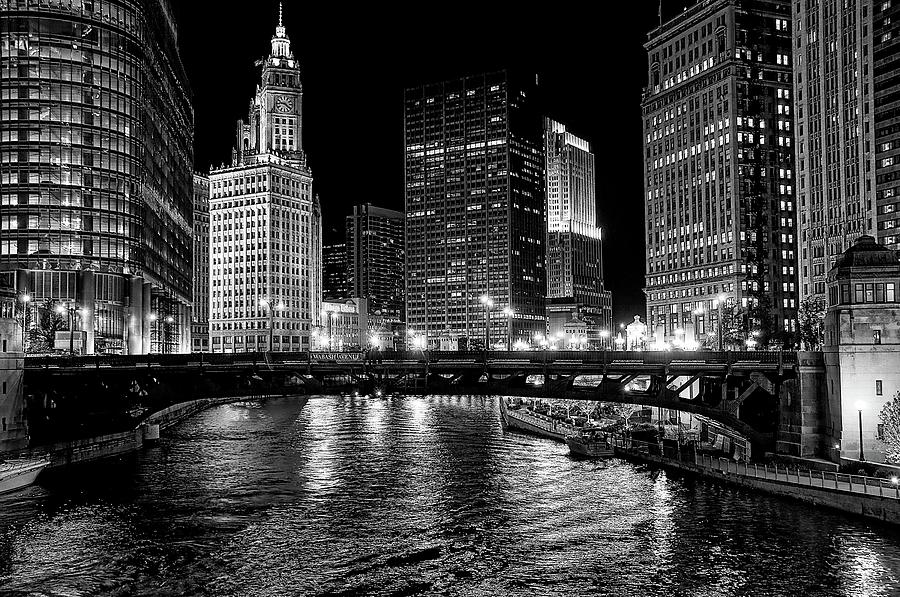 Bw Photograph - Chicago River by Jeff Lewis