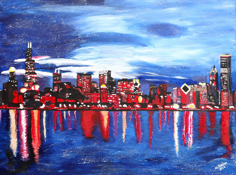 Chicago Skyline At Night Painting By M Bleichner