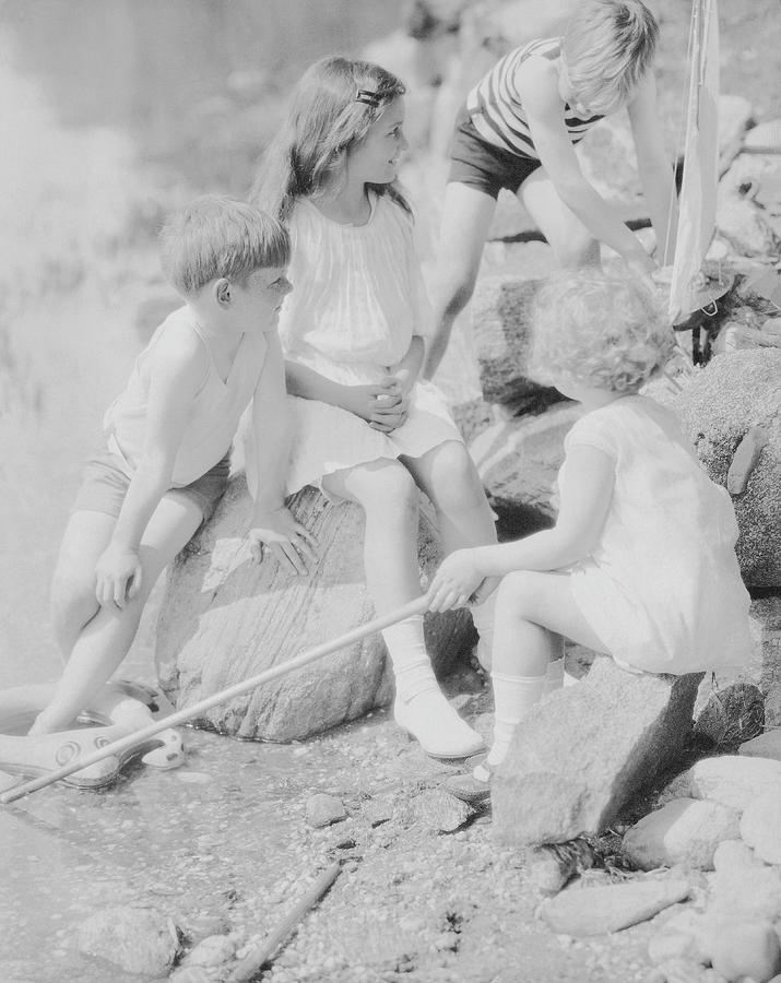 Children Playing Beside A Pond 1 Photograph by Edward Steichen