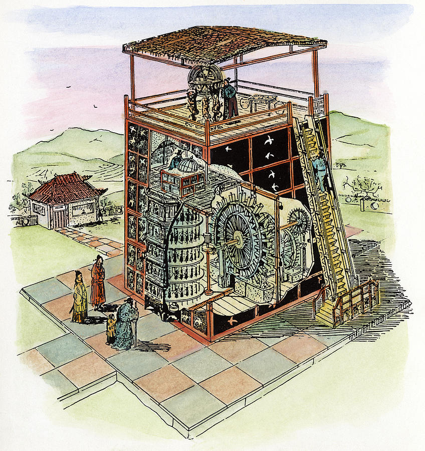 11th Century Drawing - Chinese Astronomical Clocktower Built by Granger
