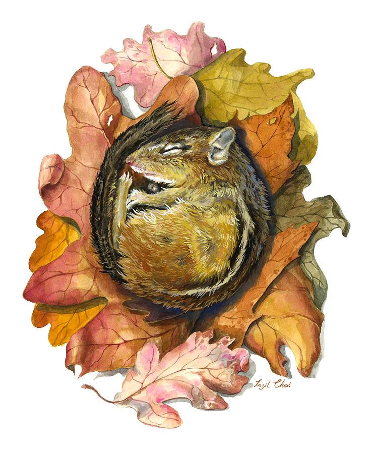 Chipmunk Painting - Chipmunk Hibernation by Insil Choi